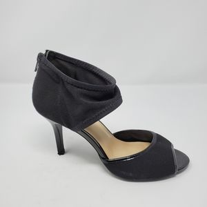 NINE WEST Black Ankle Mesh Strap Open Toe Heels